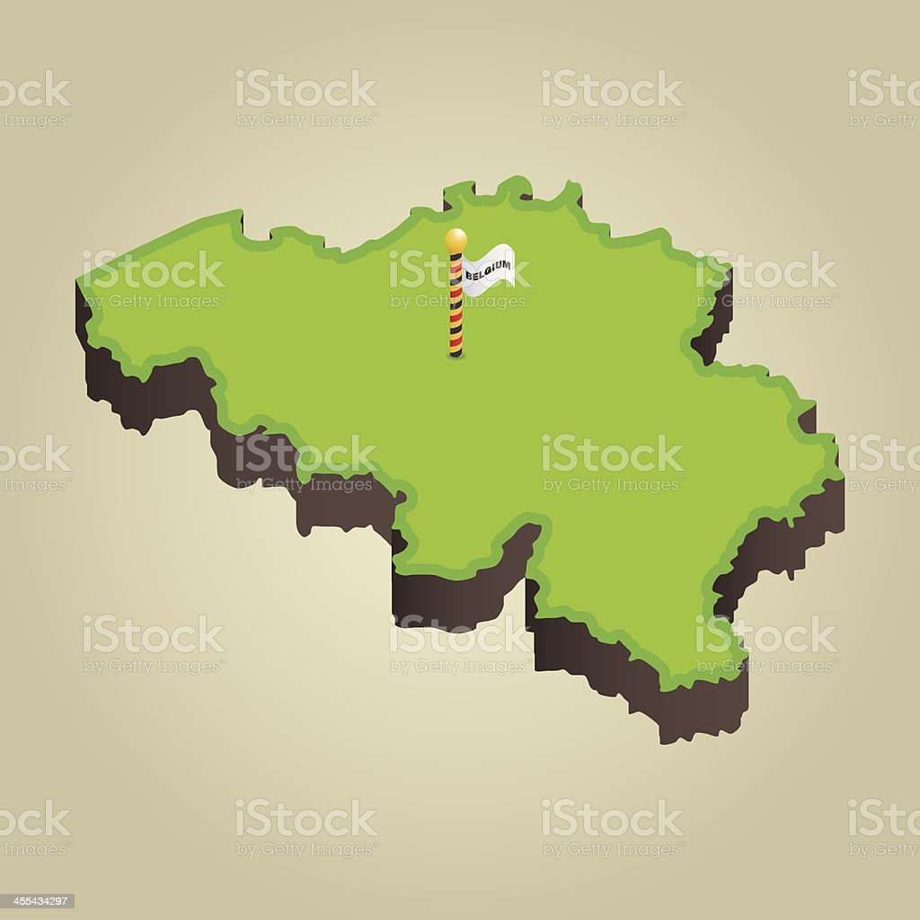 Belgium 3D Map royalty-free stock vector art