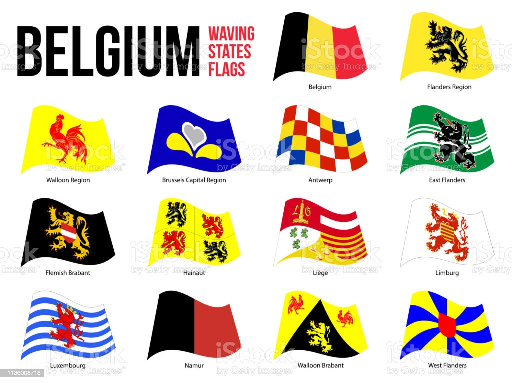 Belgium All Region Provinces Flag Waving Vector Illustration