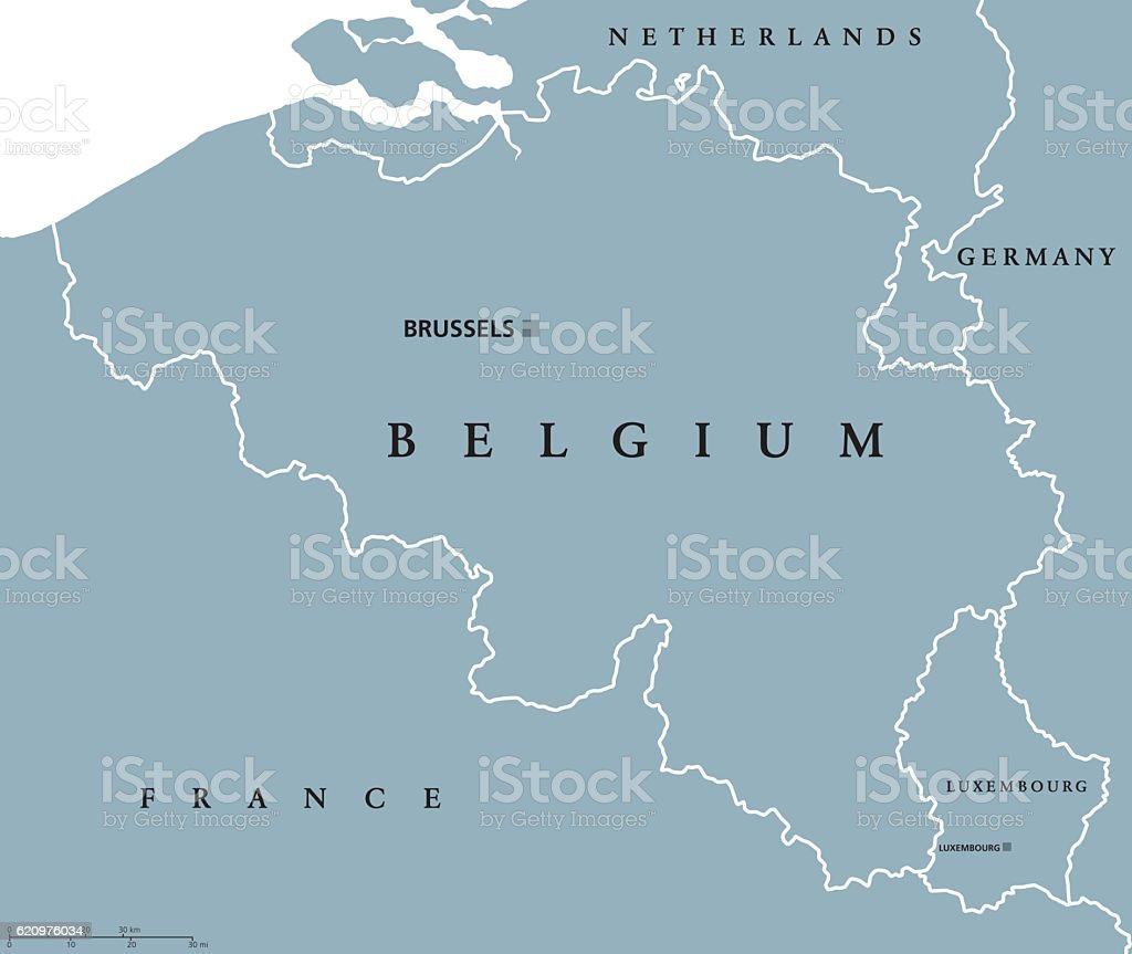 Belgium and Luxembourg political map vector art illustration