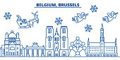 Belgium, Brussels winter city skyline. Merry Christmas, Happy New Year decorated banner with Santa Claus.Winter greeting line card.Flat, outline vector. Linear christmas snow illustration