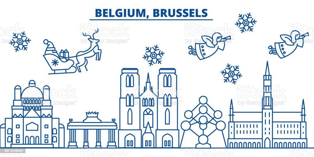 Bélgica, horizonte de la ciudad de Bruselas invierno. Feliz Navidad, feliz año nuevo decorado banner con Santa Claus.Winter tarjeta de línea de saludo. Vector plano, de contorno. Ilustración linear de nieve de Navidad - ilustración de arte vectorial