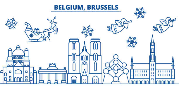 Belgium, Brussels winter city skyline. Merry Christmas, Happy New Year decorated banner with Santa Claus.Winter greeting line card.Flat, outline vector.Linear christmas snow illustration vector art illustration