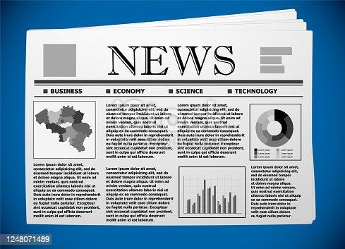 Belgium business and economy on newspaper.