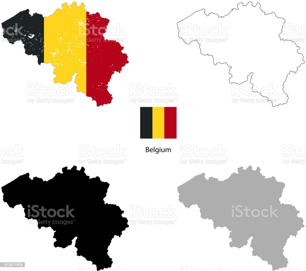 Belgium country black silhouette and with flag on background vector art illustration