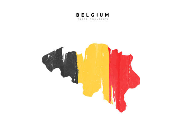 Belgium detailed map with flag of country. Painted in watercolor paint colors in the national flag Belgium detailed map with flag of country. Painted in watercolor paint colors in the national flag. national holiday stock illustrations