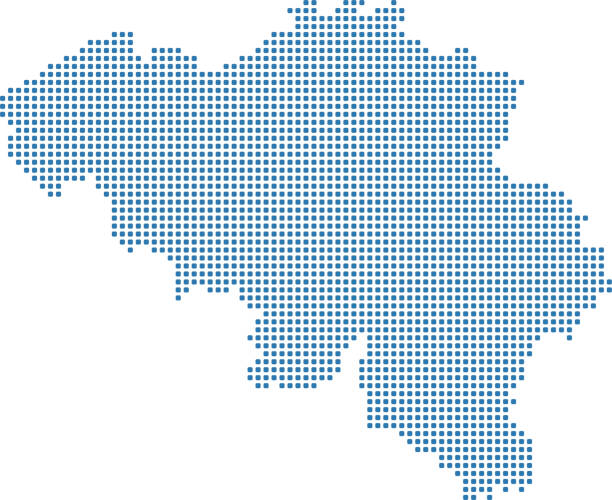 Belgium dotted map. Belgium map dots. Highly detailed pixelated Belgium map vector outline illustration in blue background vector art illustration