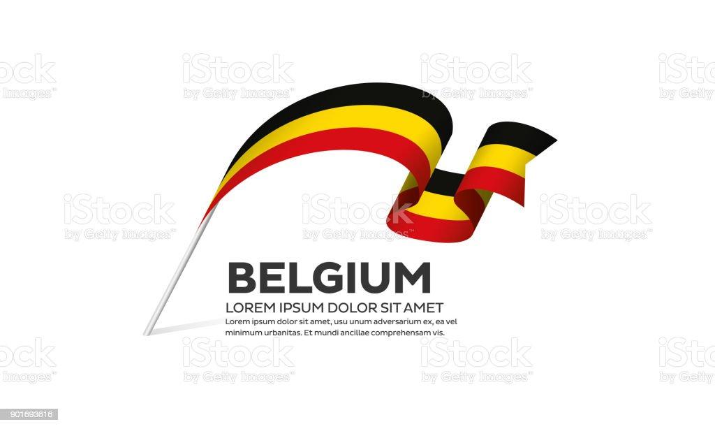 Belgium flag on a white background vector art illustration