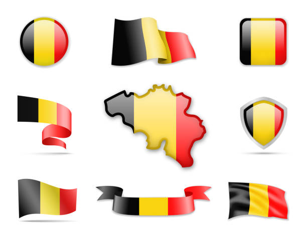 Belgium Flags Collection vector art illustration