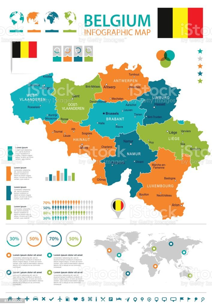 belgium infographic map and flag illustration royalty free belgium infographic map and flag