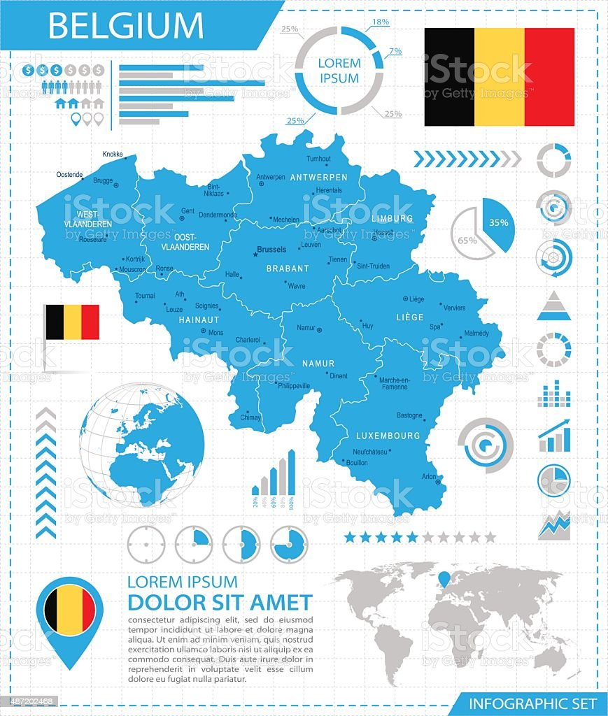 belgium infographic map illustration royalty free belgium infographic map illustration stock vector art