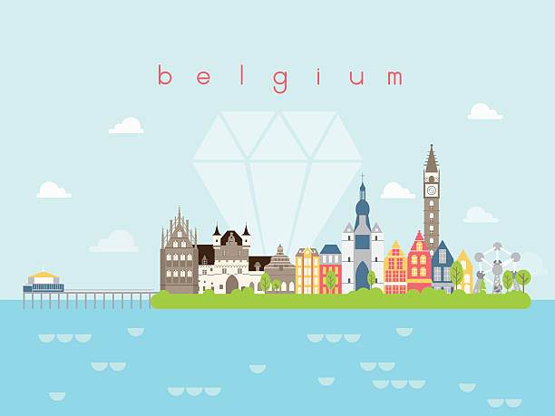 Belgium Landmarks Travel and Journey Vector Belgium Landmarks Travel and Journey Vector daunt stock illustrations
