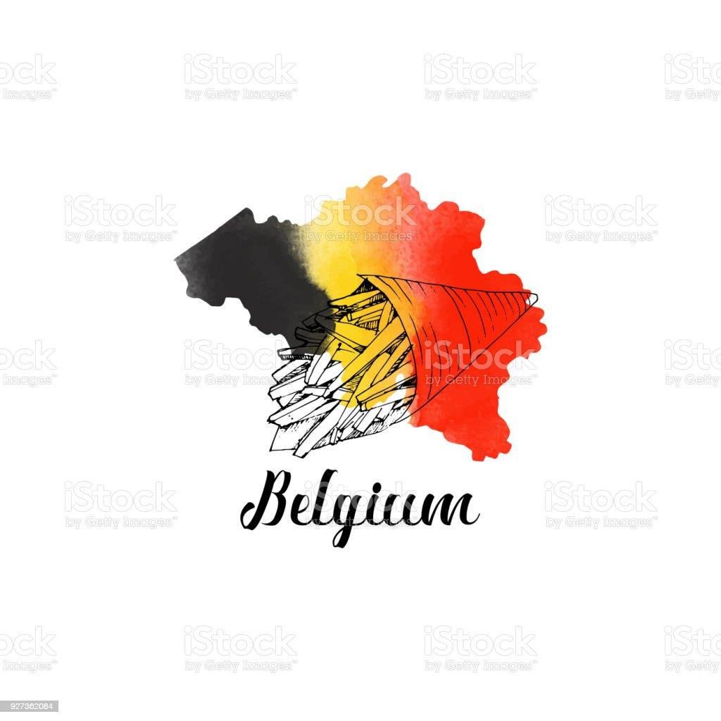 Belgium landmarks Belgium. Hand drawn set of landmark Architecture stock vector