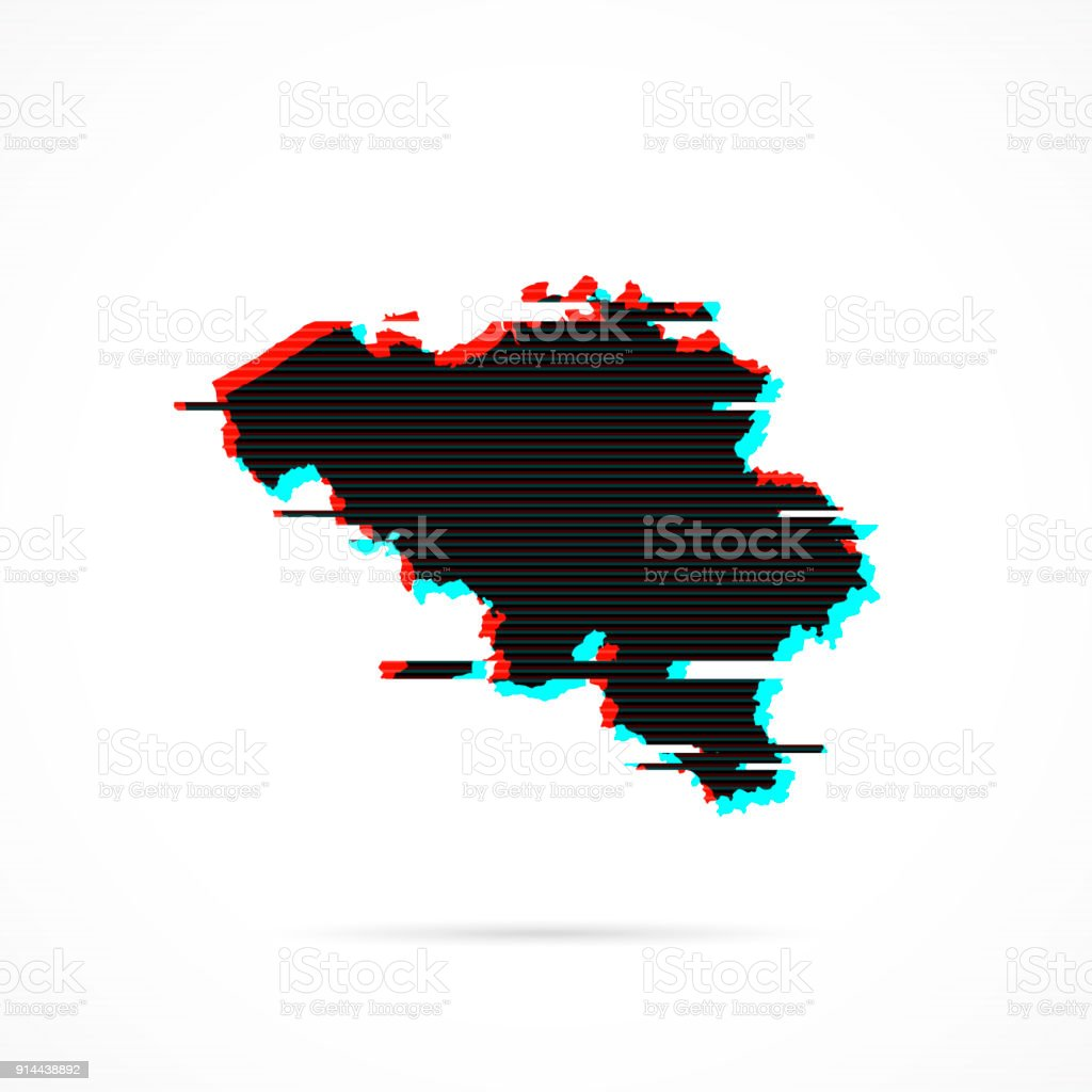 Belgium Map In Distorted Glitch Style Modern Trendy Effect stock ...