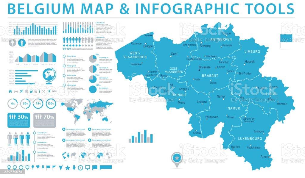 Mapa Bélgica - ilustración de Vector gráfico de información - ilustración de arte vectorial