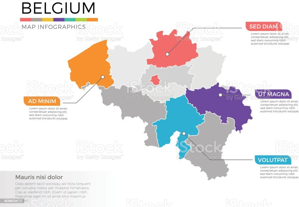 belgium map infographics vector template with regions and pointer marks royalty free belgium map infographics