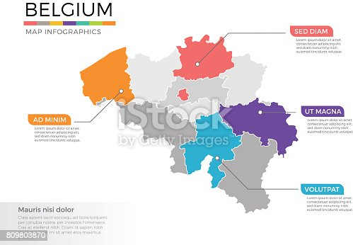 belgium map infographics vector template with regions and pointer marks stock vector art more images of abstract 809803870 istock
