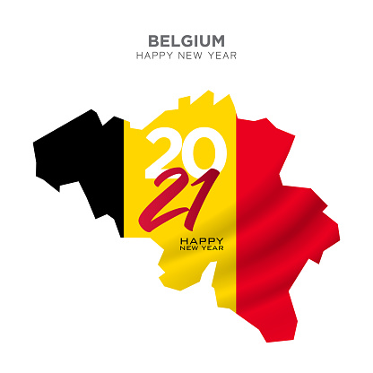 Belgium map new year concept design. 2021 New Year concept for advertising, banners, leaflets and flyers. Vector illustration.