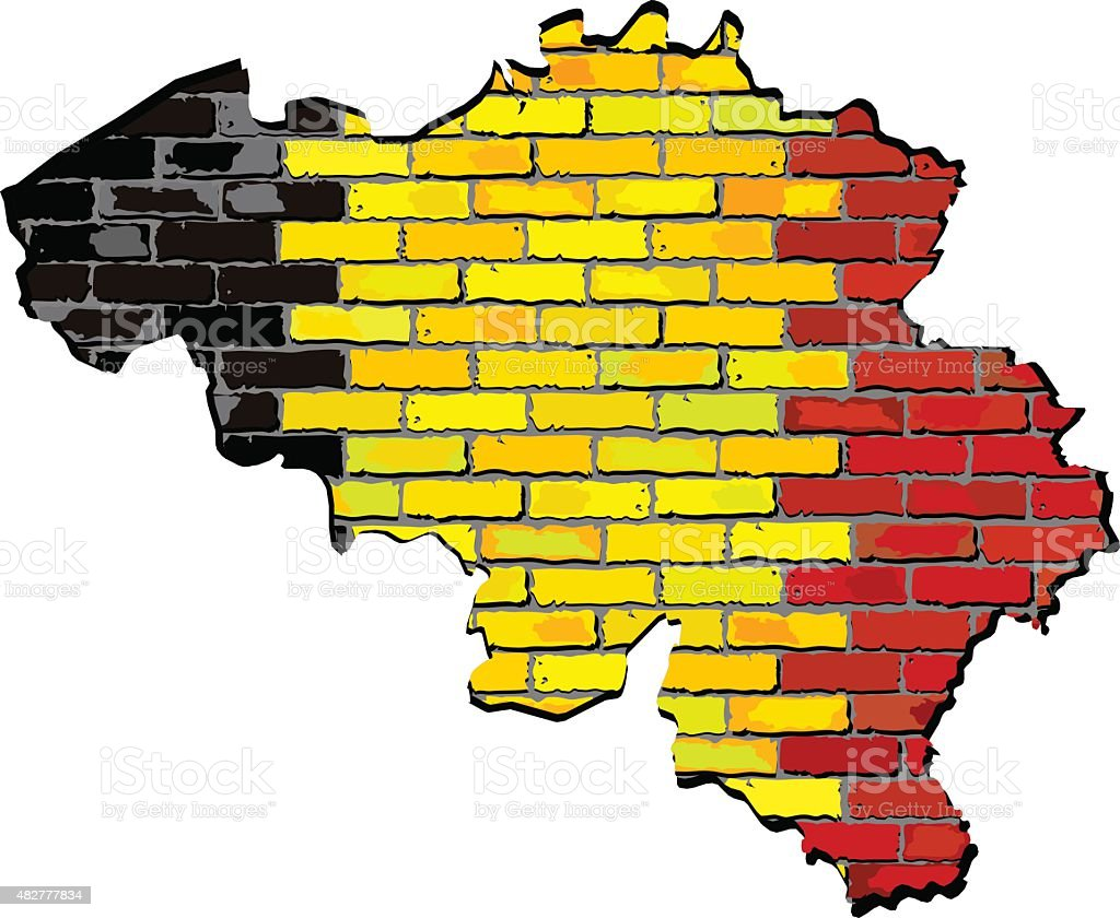 Belgium Map On A Brick Wall Stock Vector Art & More Images of 2015 ...