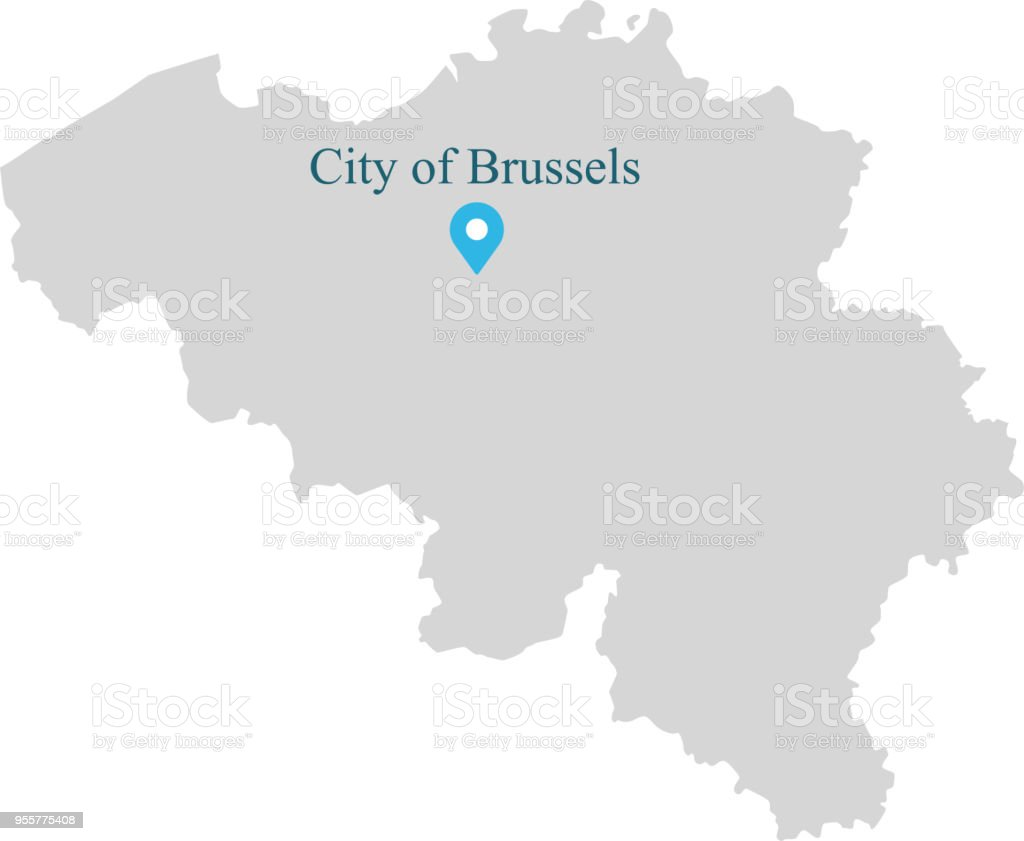 belgium map vector outline illustration with provinces or states borders and capital location city of