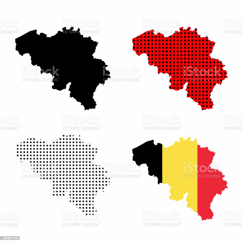 Belgium map vector set - belgian flag, silhouette map, map with polka dots vector art illustration