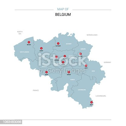 Belgium vector map. Editable template with regions, cities, red pins and blue surface on white background.