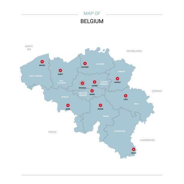 Belgium map vector with red pin. vector art illustration