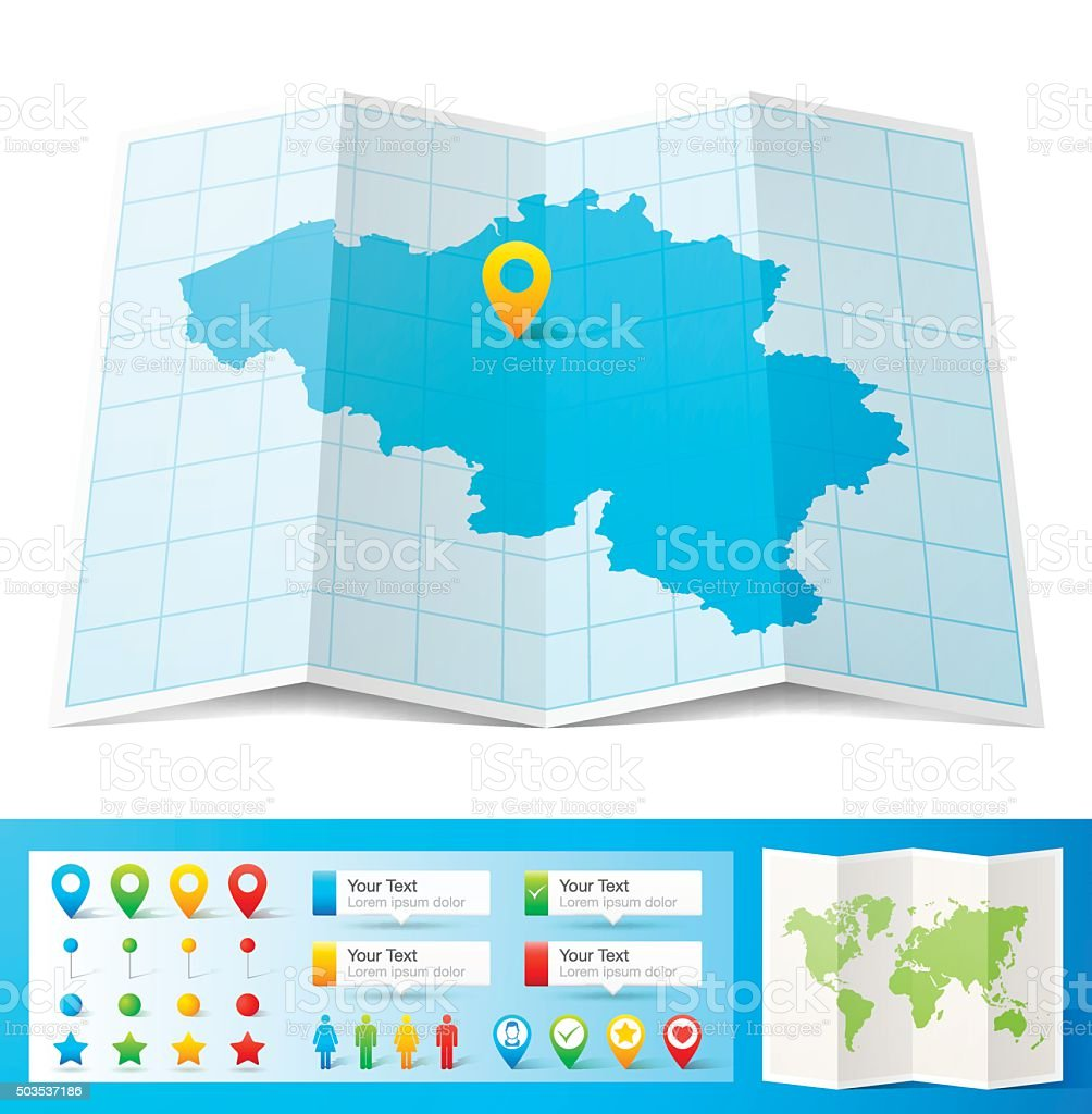 Belgium Map with location pins isolated on white Background vector art illustration