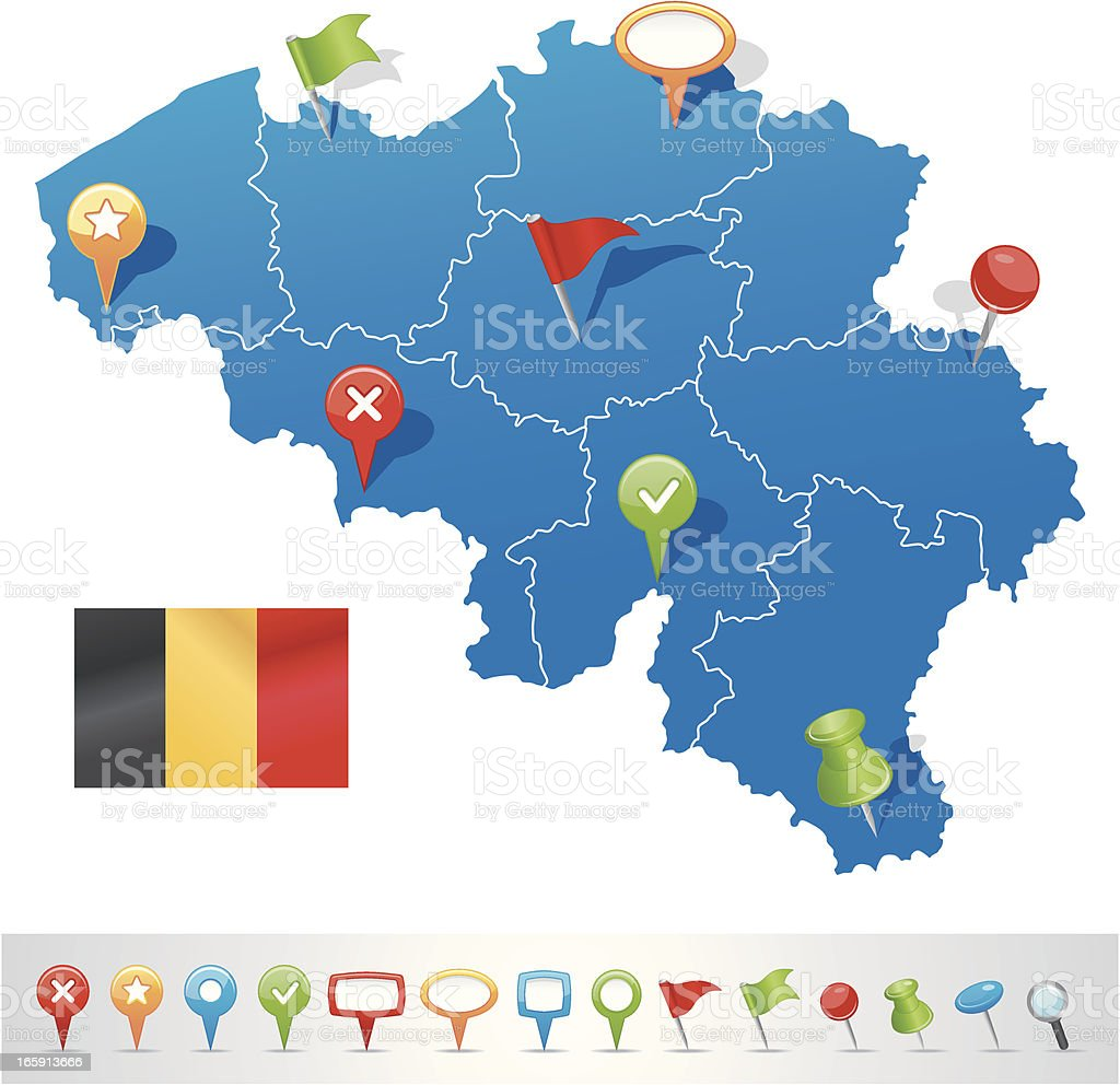 Belgium map with navigation icons royalty-free stock vector art
