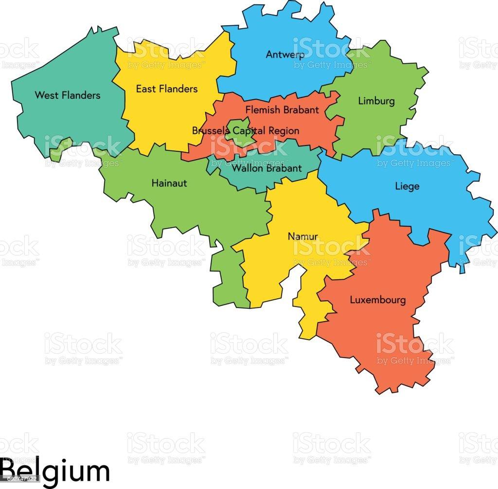 belgie kaart België Kaart Met Regios En Namen Stockvectorkunst en meer beelden
