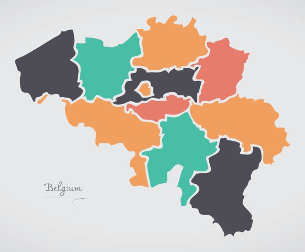 Belgium Map with states and modern round shapes vector art illustration