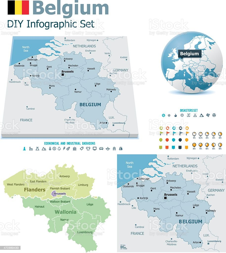 Belgium maps with markers vector art illustration
