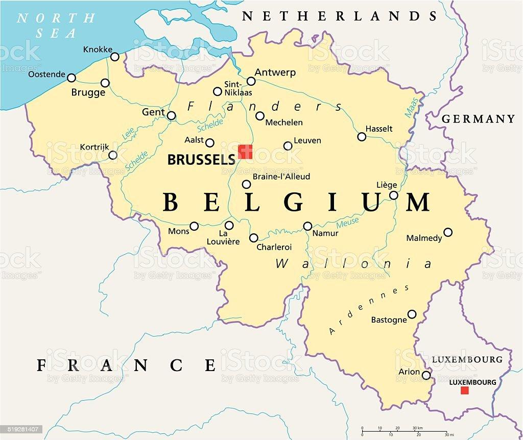 Belgium Political Map vector art illustration