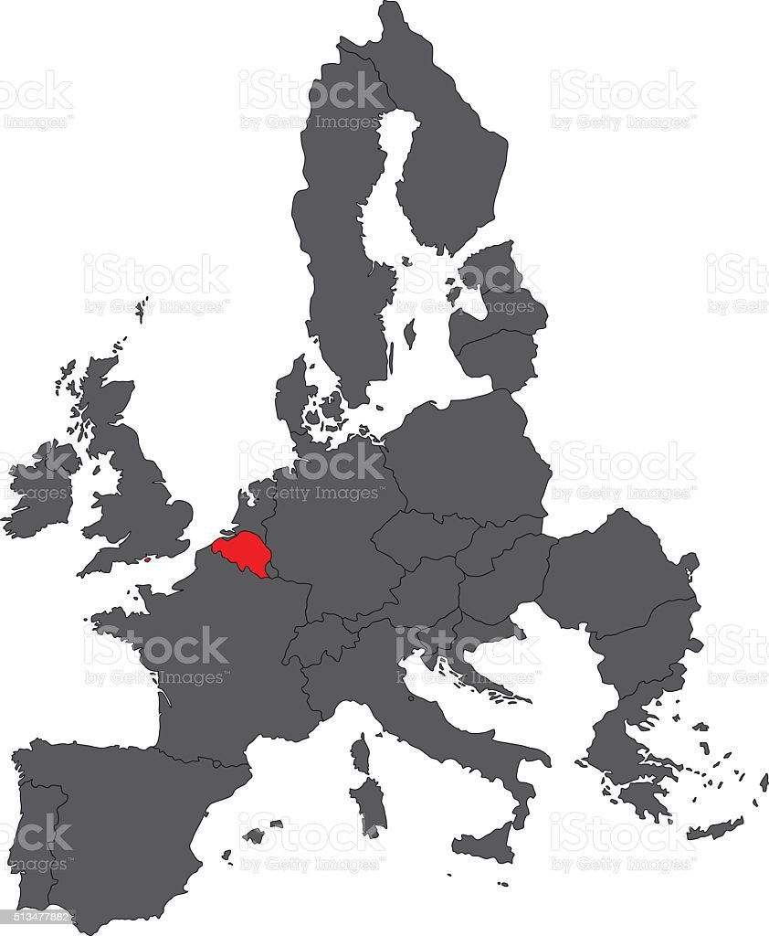 Belgium Red Map On Gray Europe Map Vector Stock Vector Art More
