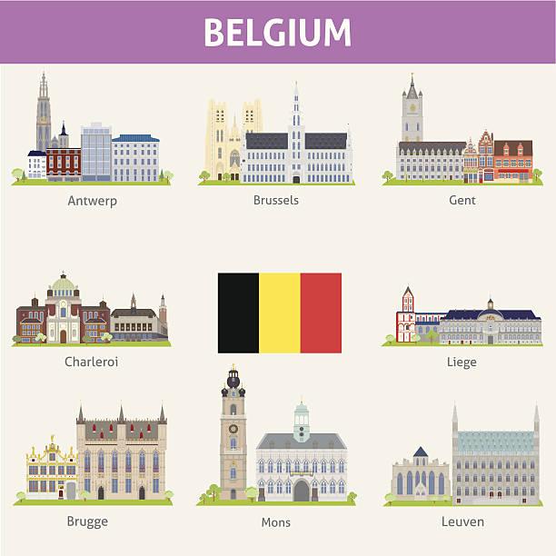 Belgium. Symbols of cities Belgium. Symbols of cities. Vector set lulik stock illustrations
