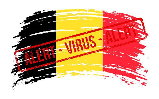 stockillustraties, clipart, cartoons en iconen met belgië gescheurde vlag met een zegel met de woorden alarmvirus, vector - tears corona