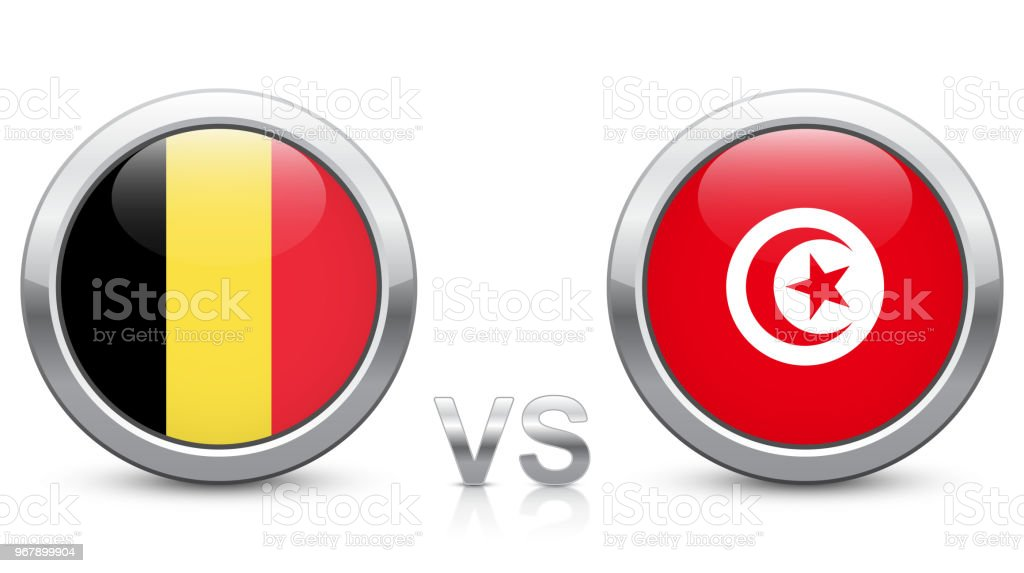 Belgium vs. Tunisia - Match 29 - Group G - 2018 tournament. Shiny metallic  icons buttons with national flags isolated on white background. -  Illustration . 6fab051cb