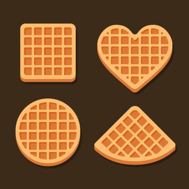 belgium waffles icon set on dark background. vector - ワッフル点のイラスト素材/クリップアート素材/マンガ素材/アイコン素材