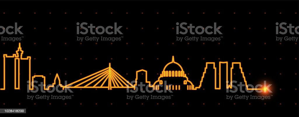 Belgrade Light Streak Skyline vector art illustration