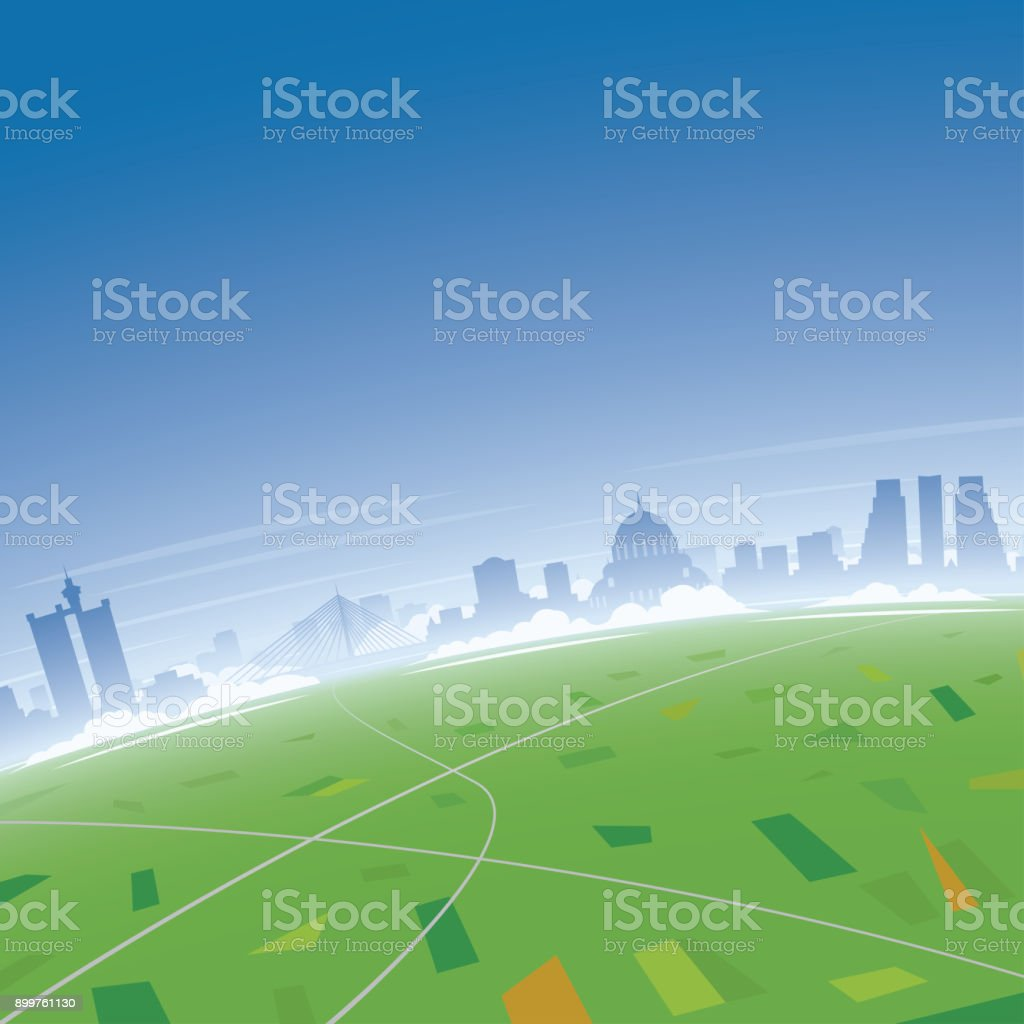 Belgrade Skyline Aerial View vector art illustration