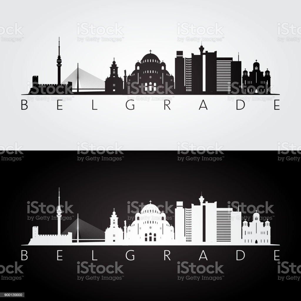 Belgrade skyline and landmarks silhouette, black and white design, vector illustration. vector art illustration