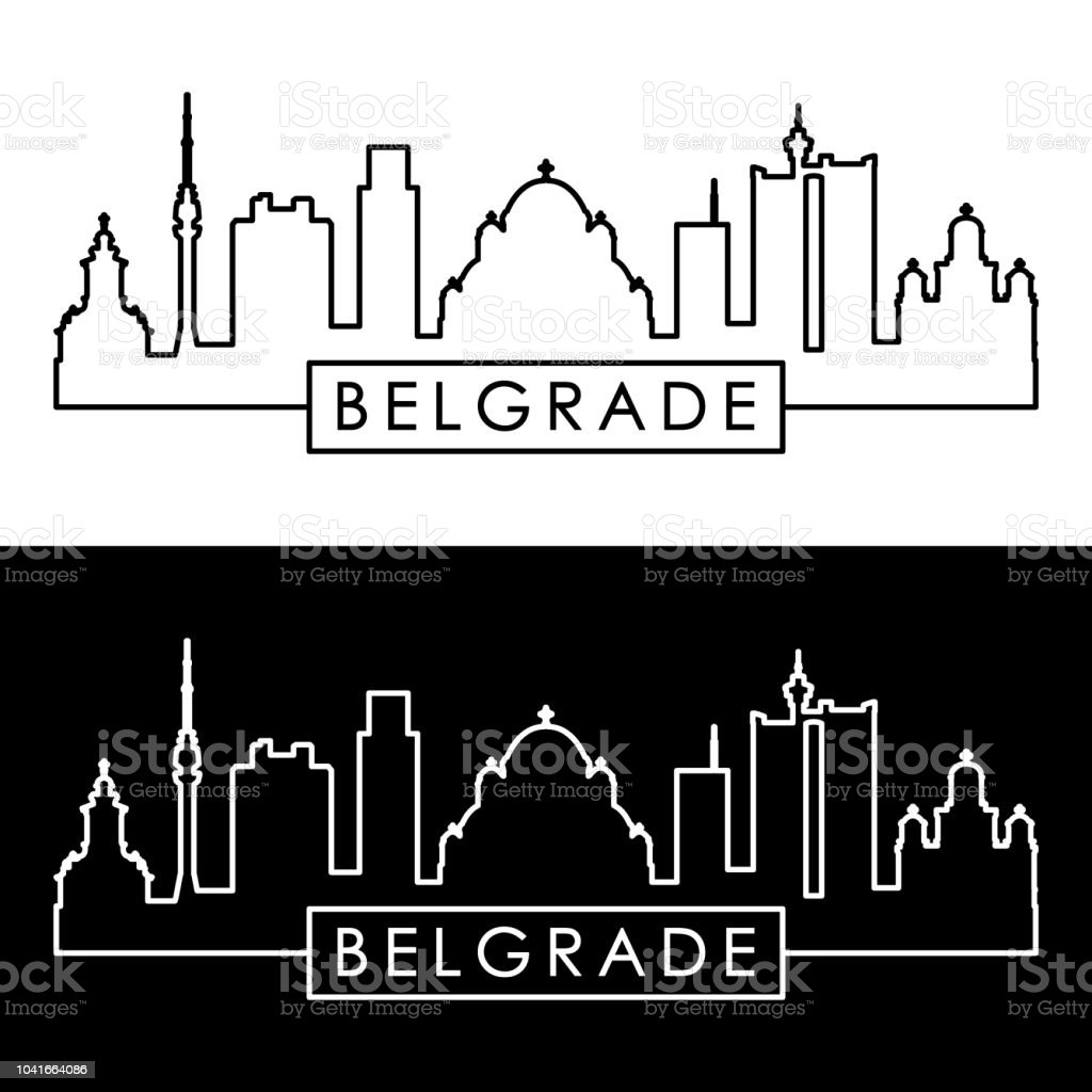 Belgrade skyline. Linear style. Editable vector file. vector art illustration