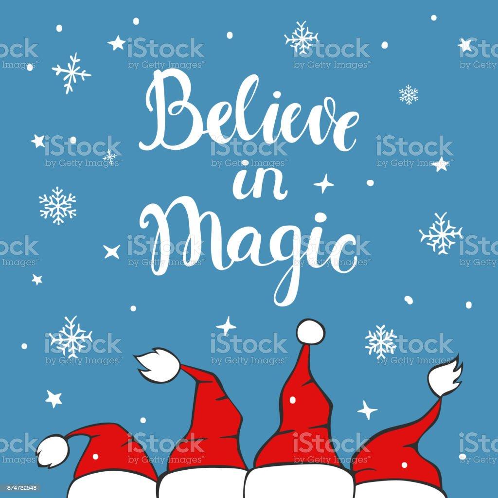 creer en magia Navidad tarjeta de felicitación de fondo con sombreros de santa claus chrostmas en textura azul con copos de nieve y estrellas - ilustración de arte vectorial