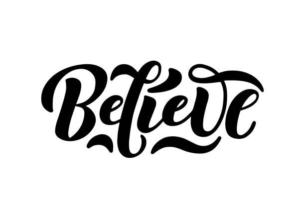 ilustraciones, imágenes clip art, dibujos animados e iconos de stock de cree en el logotipo moderno de caligrafía aislado en blanco. - esperanza