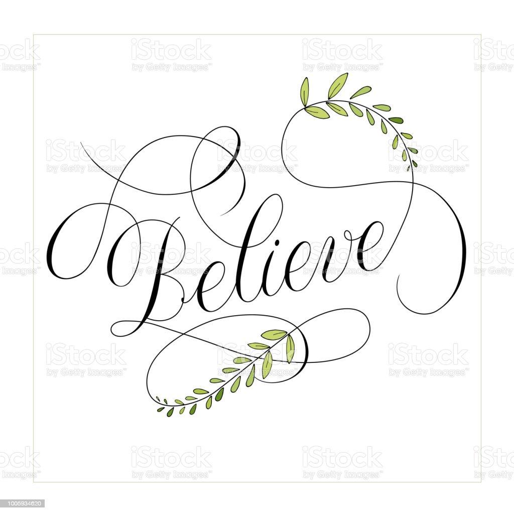 繁栄の要素のベクトルを持つテキスト書道を信じる イラストレーション