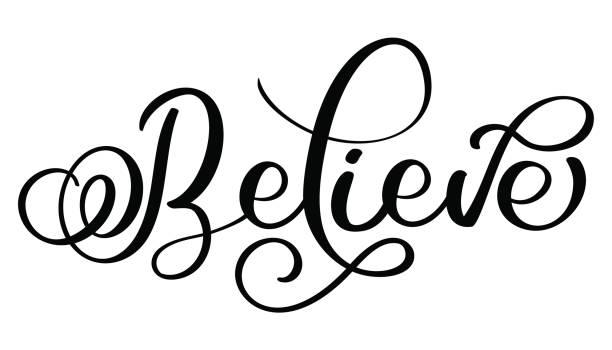 相信在白色背景上的字。手繪書法刻字向量圖 eps10 - optimistic 幅插畫檔、美工圖案、卡通及圖標