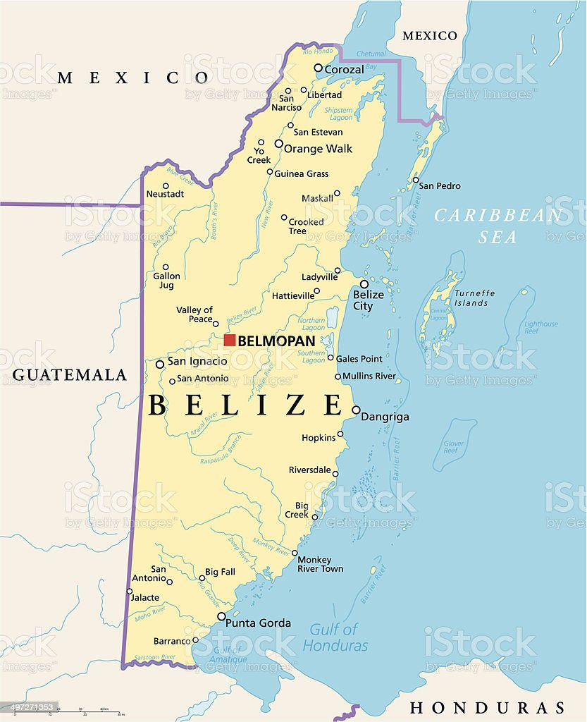 Belize Political Map Stock Vector Art More Images of Belize