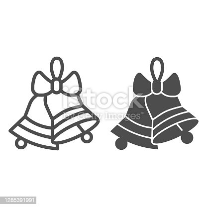 Bell and bow line and solid icon, Christmas and New Year concept, jingle bells sign on white background, holiday decoration icon in outline style for mobile concept and web design. Vector graphics