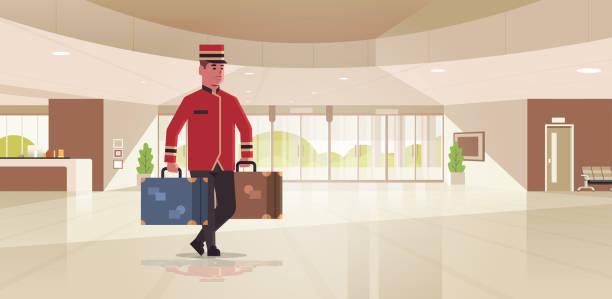 колокол мальчик проведения чемоданы гостиничного обслуживания концепции bellman проведения багажа мужской работник в единой современной при - hotel reception stock illustrations