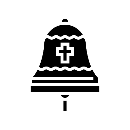 bell christianity glyph icon vector illustration