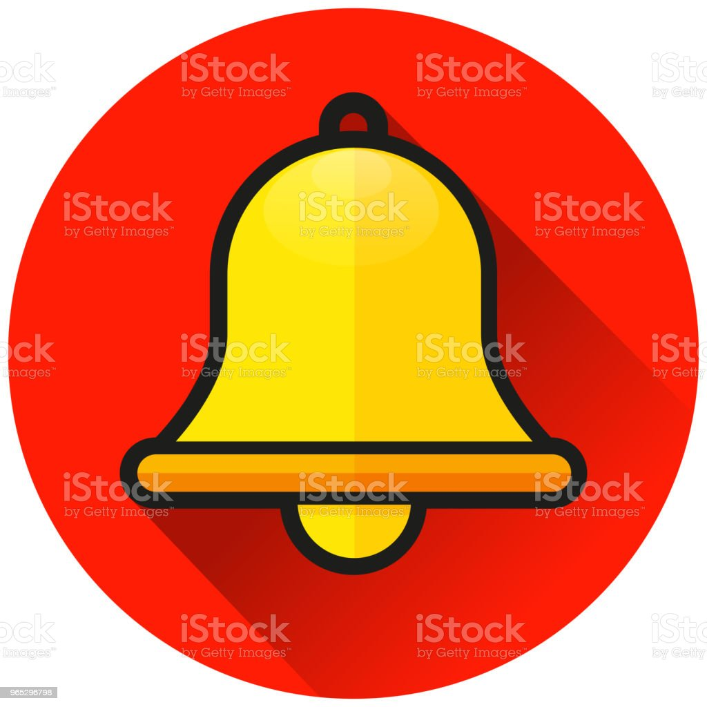 bell circle red flat icon royalty-free bell circle red flat icon stock vector art & more images of alarm